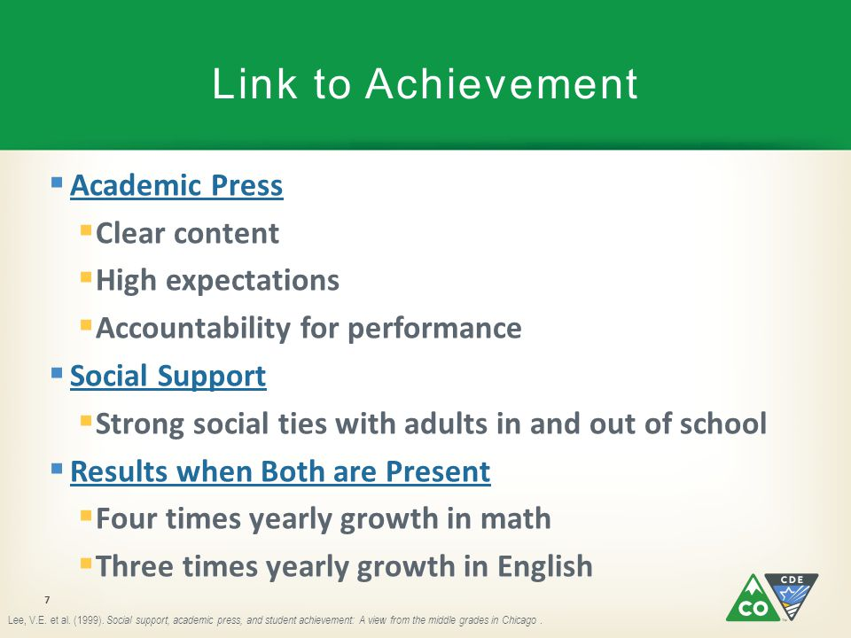 Link to Achievement Academic Press Clear content High expectations