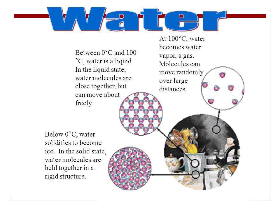 Water At 100°C, water becomes water vapor, a gas. Molecules can move randomly over large distances.