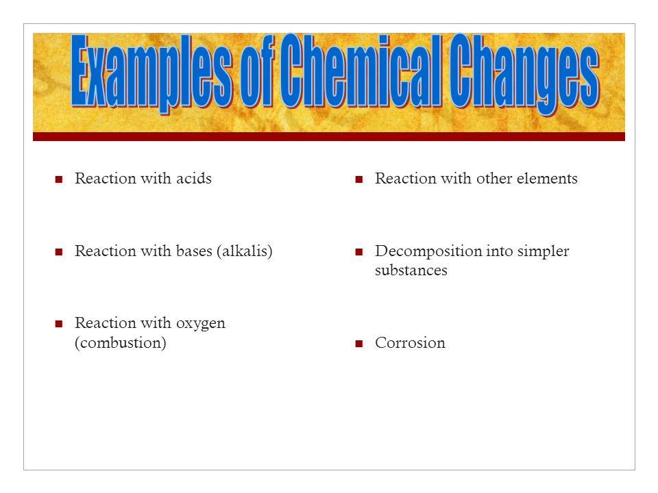 Examples of Chemical Changes