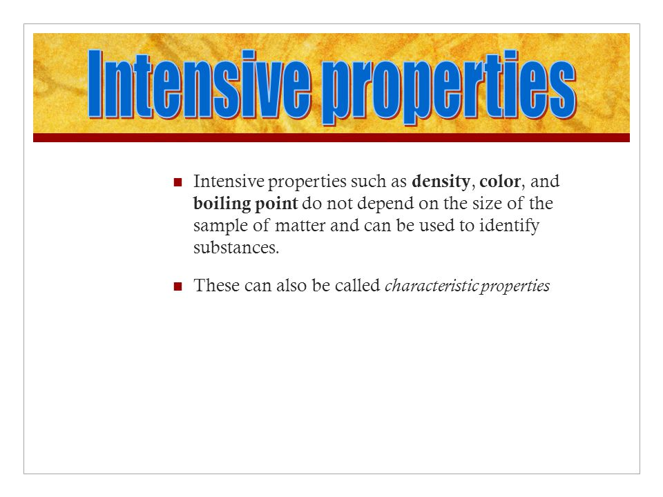 Intensive properties