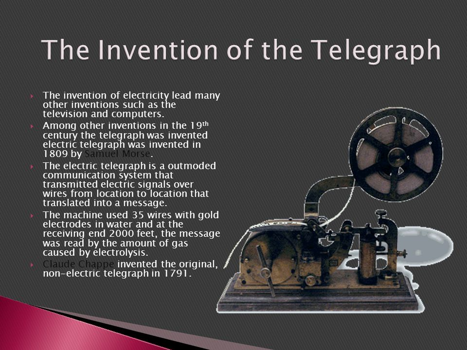 how the multiplex telegraph was invented Granville tailer woods (april 23, 1856 – january 30, 1910) was an american inventor who held more than 50 patents he is also the first american of african ancestry to be a mechanical and electrical engineer after the civil war self-taught, he concentrated most of his work on trains and streetcarsone of his notable inventions was the multiplex telegraph, a device that sent messages between.