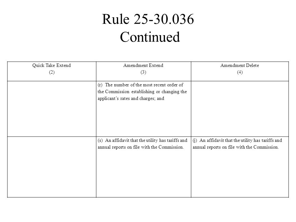 Rule 25-30.036 Continued Quick Take Extend (2) Amendment Extend (3)