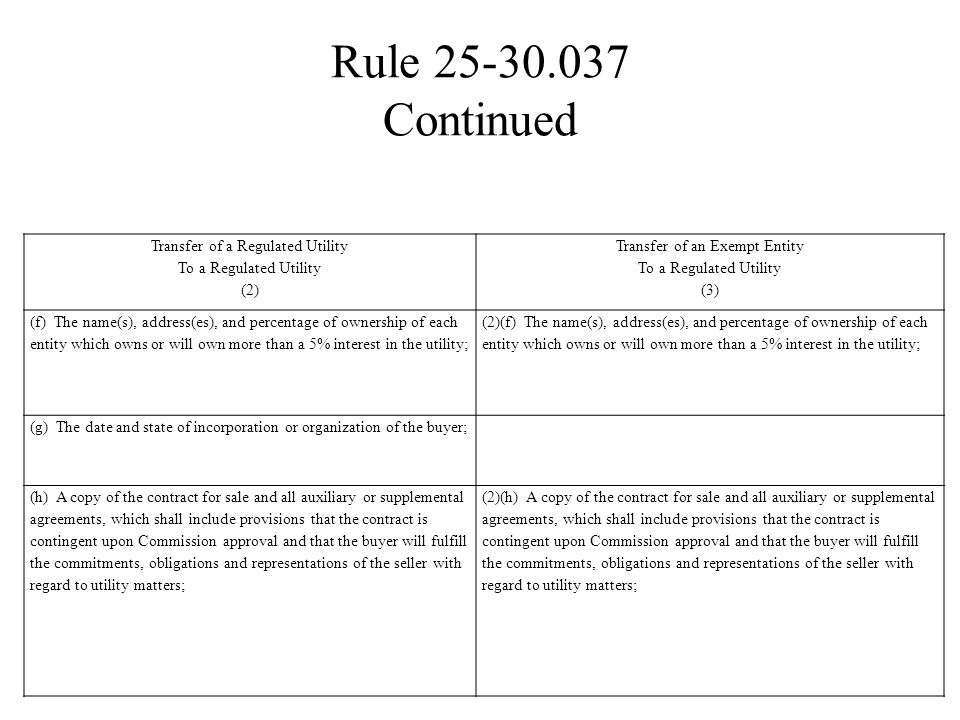 RULE 25-30.037 Transfer of a Regulated Utility to a Regulated Utility and Transfer of an Exempt Entity to a Regulated Utility.