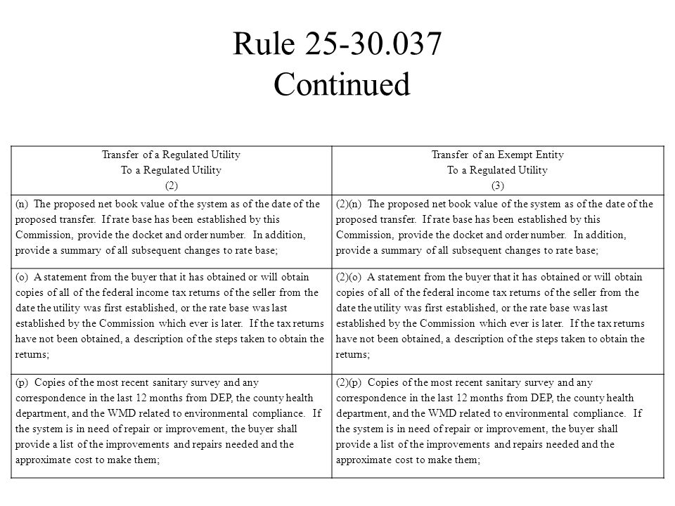 Rule 25-30.037 Continued Transfer of a Regulated Utility