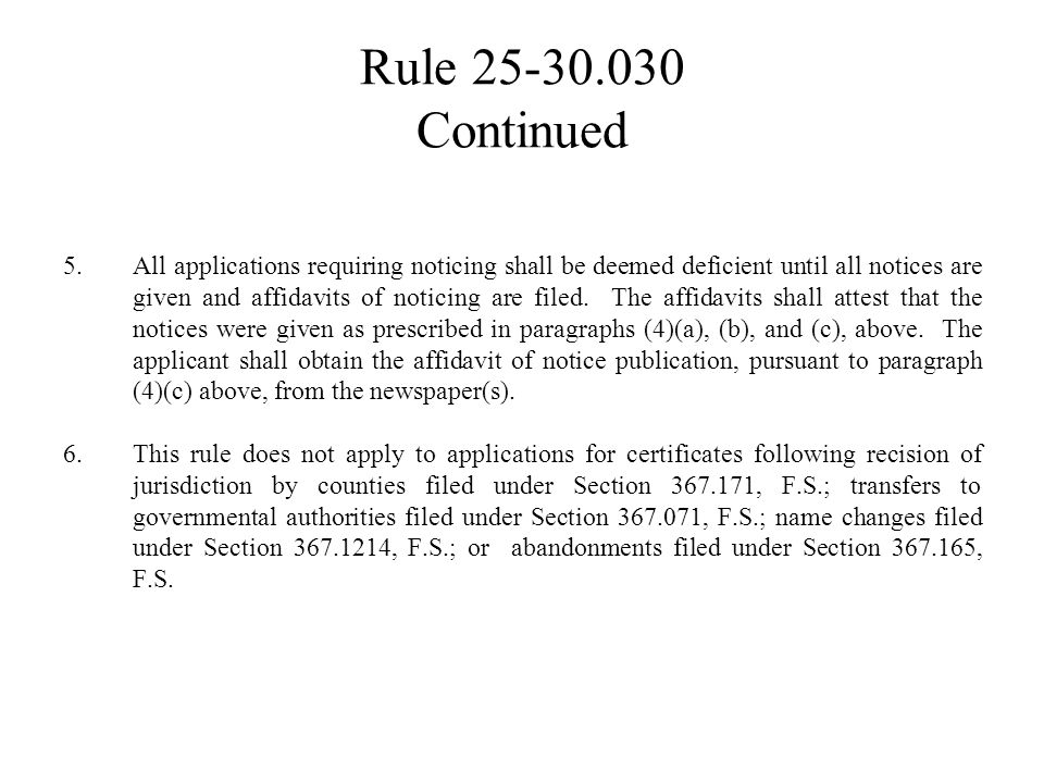 Rule 25-30.030 Continued The notice shall be titled:
