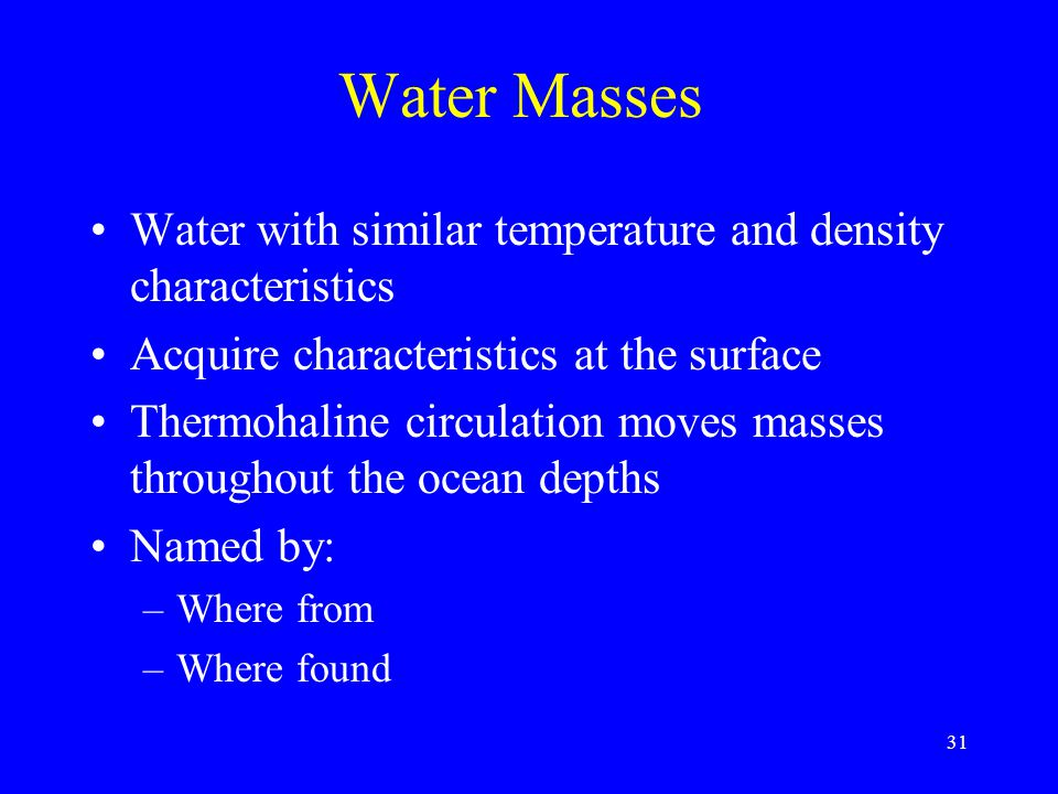 Water Masses Water with similar temperature and density characteristics. Acquire characteristics at the surface.