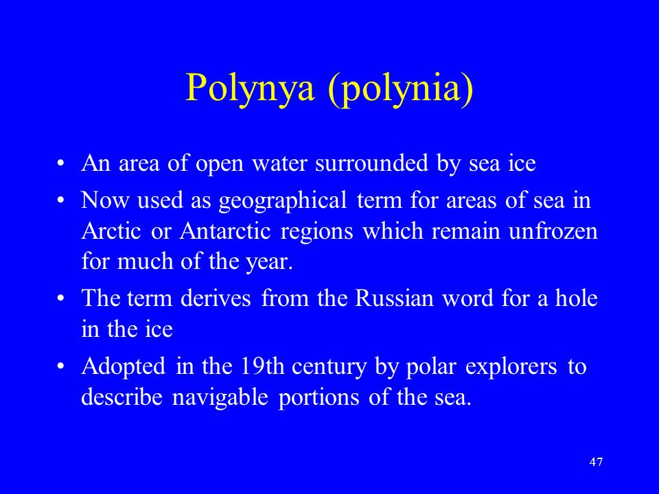 Polynya (polynia) An area of open water surrounded by sea ice