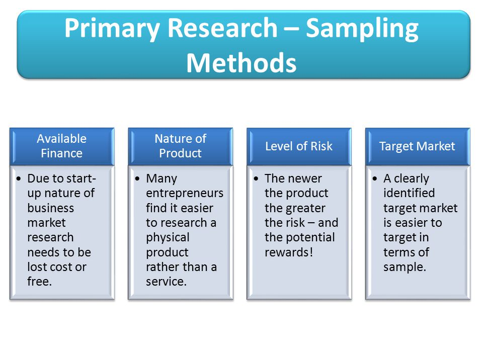 Primary Research – Sampling Methods