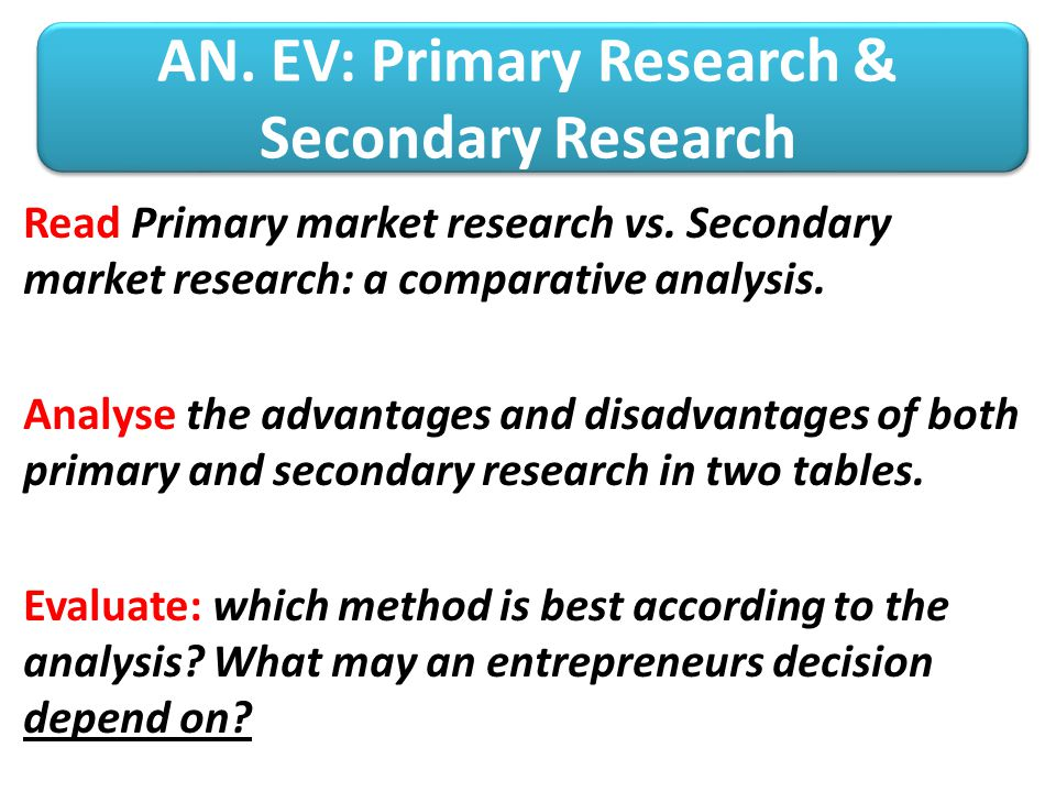 AN. EV: Primary Research & Secondary Research