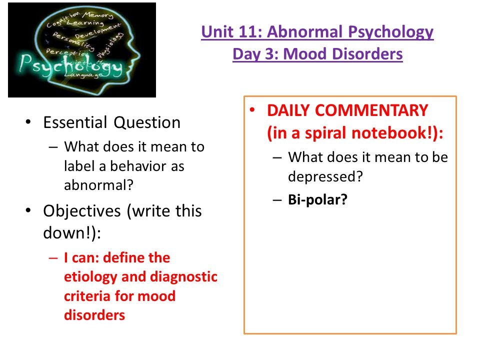 Unit 11 Abnormal Psychology Day 3 Mood Disorders Ppt Download