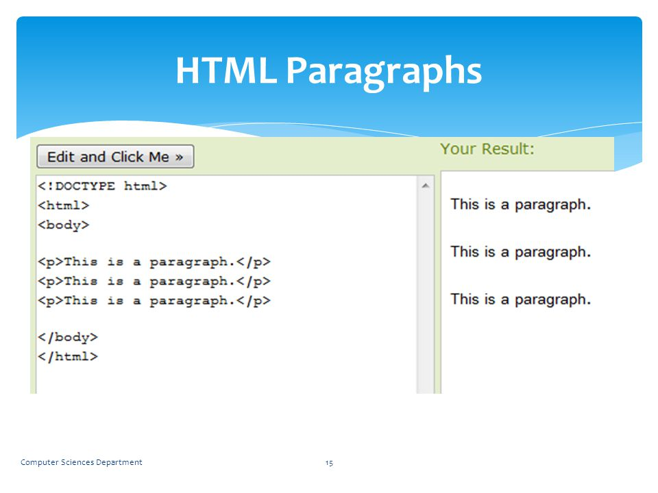 HTML Paragraphs HTML paragraphs are defined with the <p> tag.