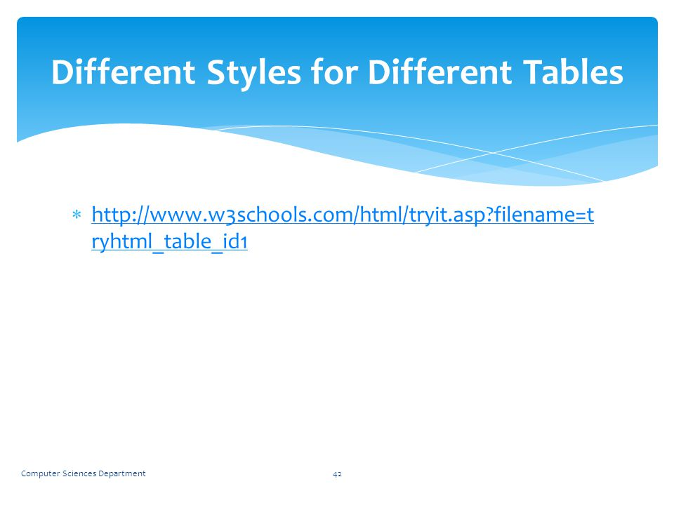Different Styles for Different Tables