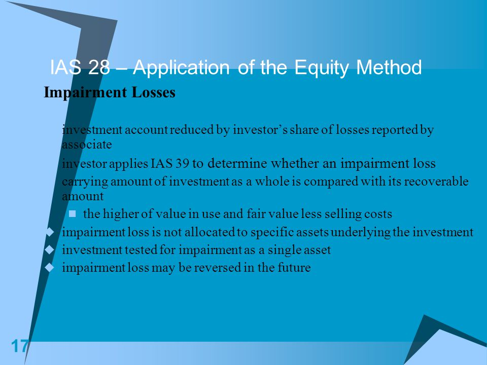 IAS 28 – Application of the Equity Method