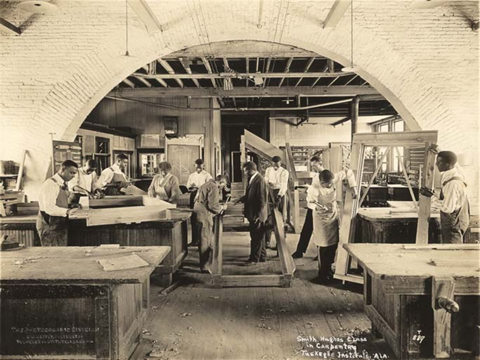 Carpentry class at Tuskegee Institute (currently Tuskegee University)