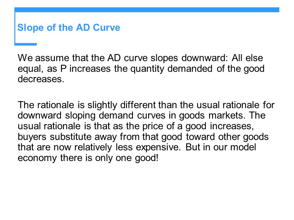 Slope of the AD Curve We assume that the AD curve slopes downward: All else equal, as P increases the quantity demanded of the good decreases.