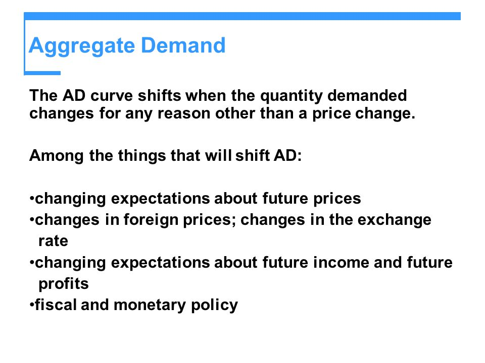 Aggregate Demand The AD curve shifts when the quantity demanded changes for any reason other than a price change.