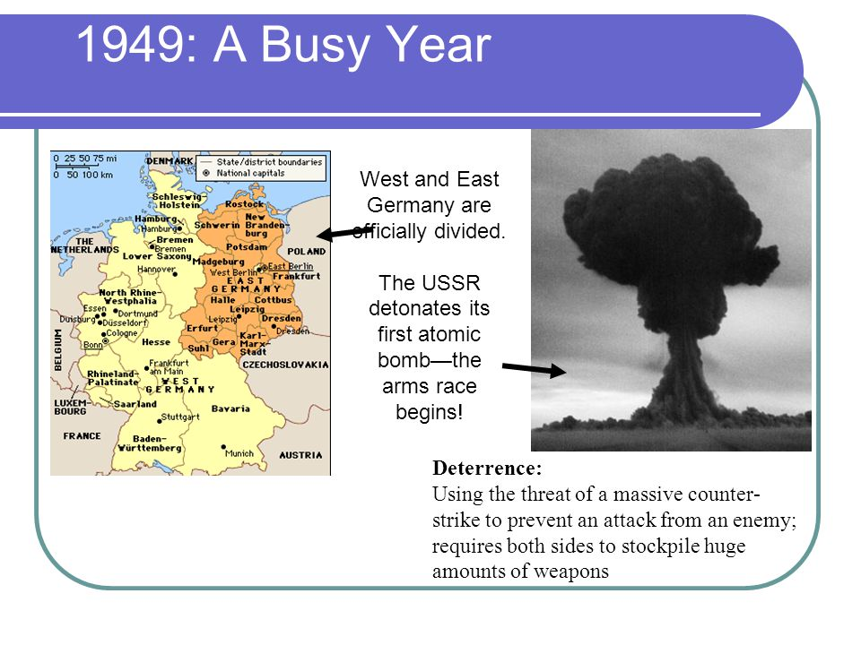 1949: A Busy Year West and East Germany are officially divided.