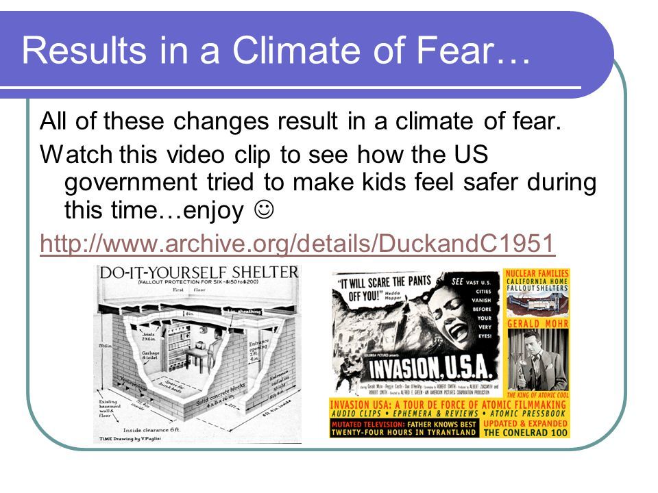 Results in a Climate of Fear…
