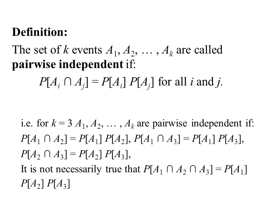 Probability Theory Summary Ppt Download. The Set Of K Events A1 A2 Ak Are Called Pairwise Independent. Worksheet. Worksheet A3 Single Event Probability At Clickcart.co