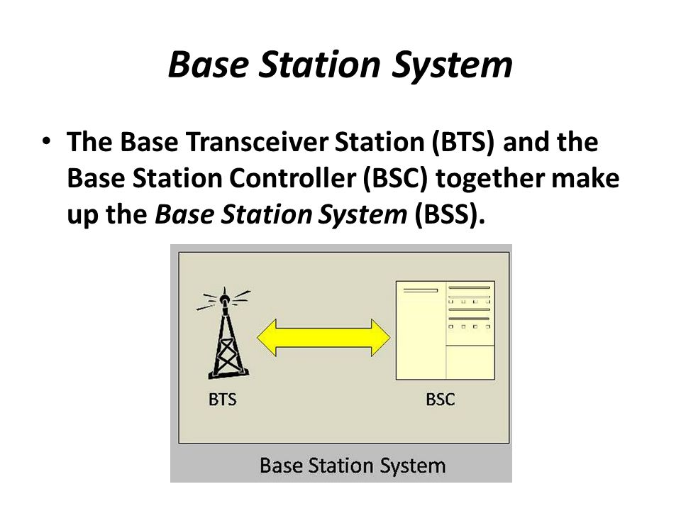 Base Station System The Base Transceiver Station (BTS) and the Base Station Controller (BSC) together make up the Base Station System (BSS).