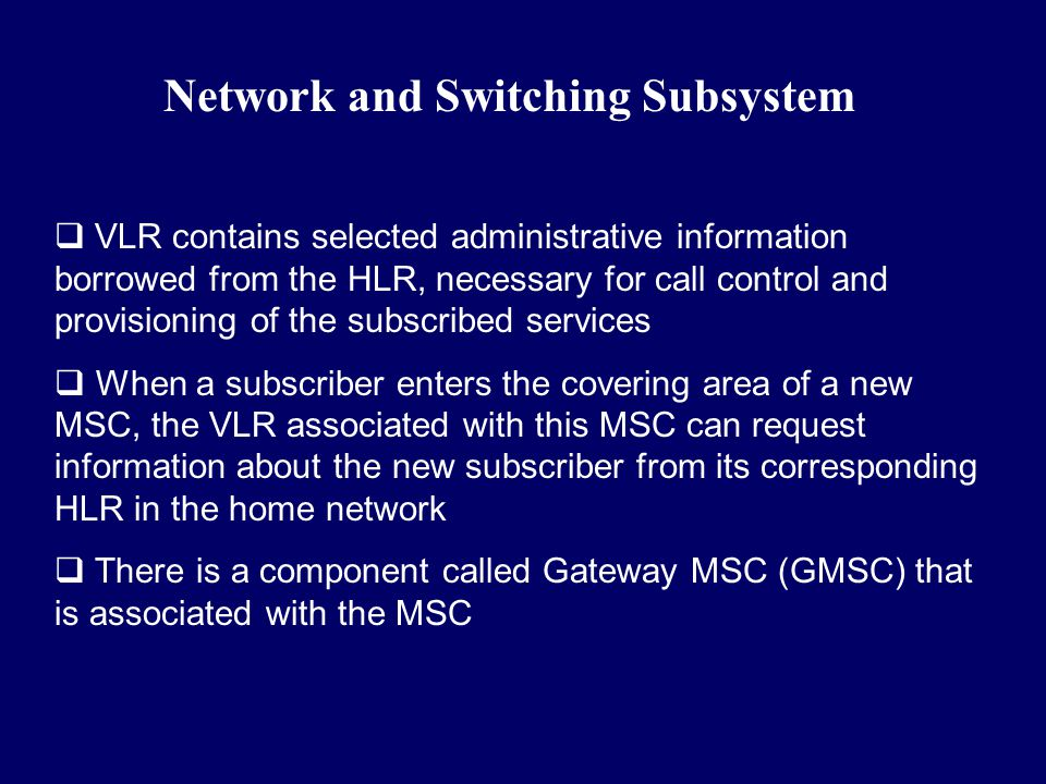 Network and Switching Subsystem