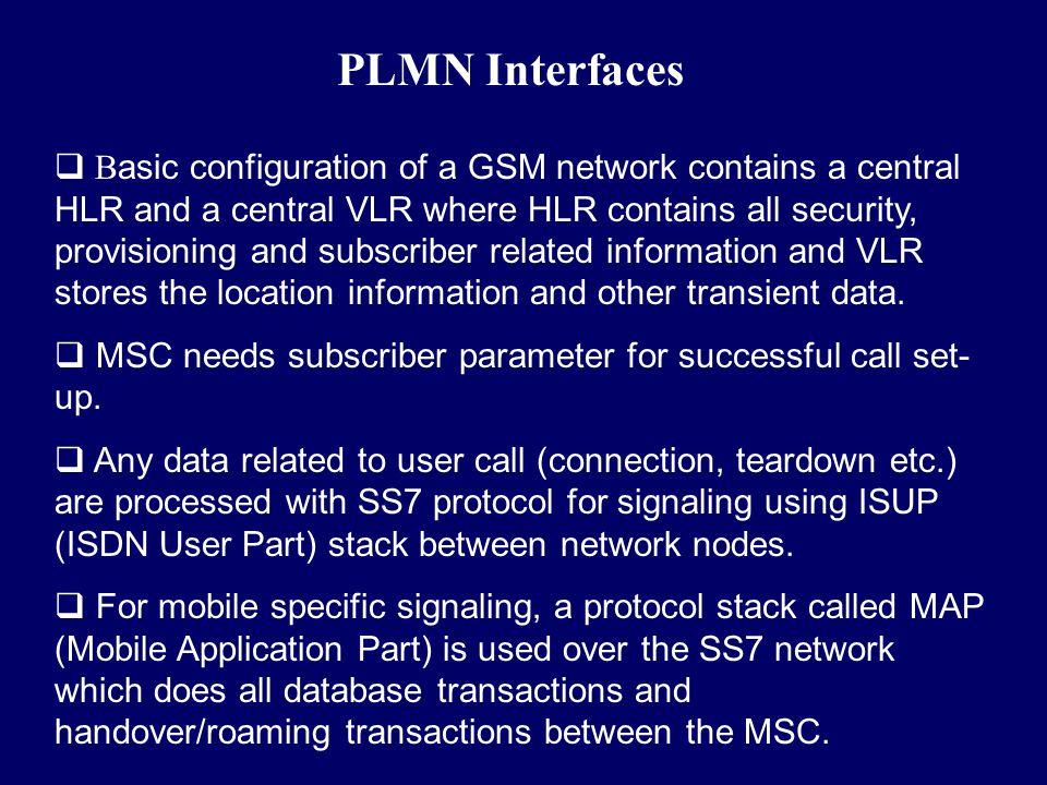 PLMN Interfaces