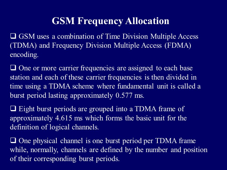 GSM Frequency Allocation