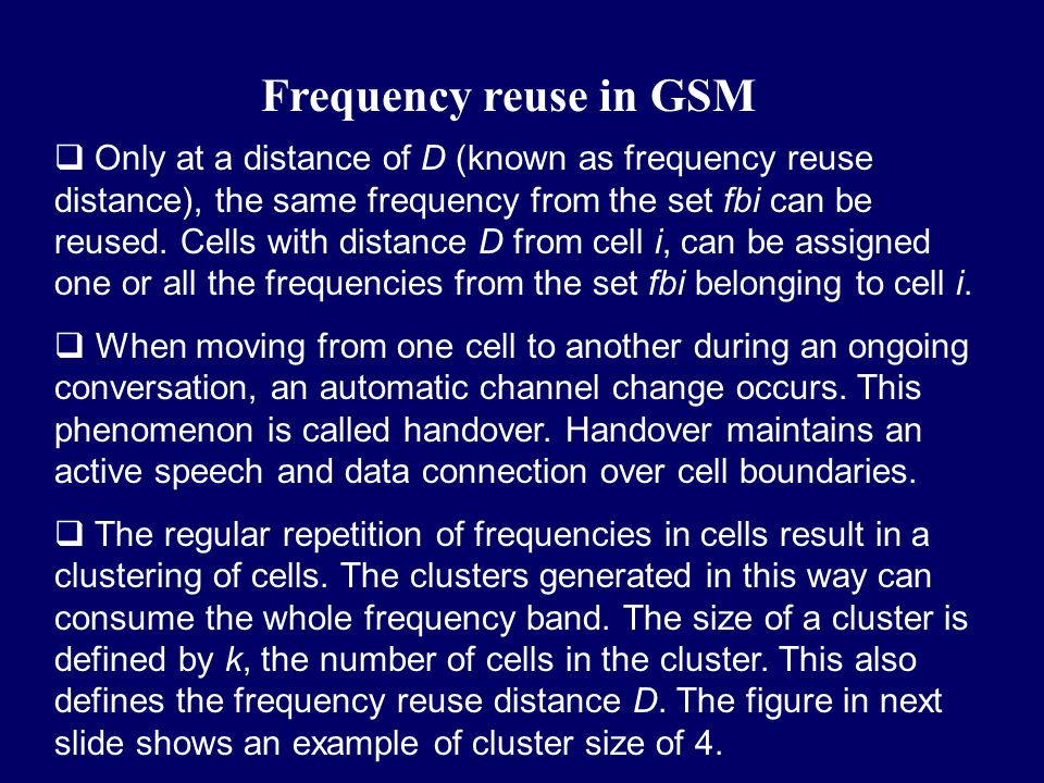 Frequency reuse in GSM