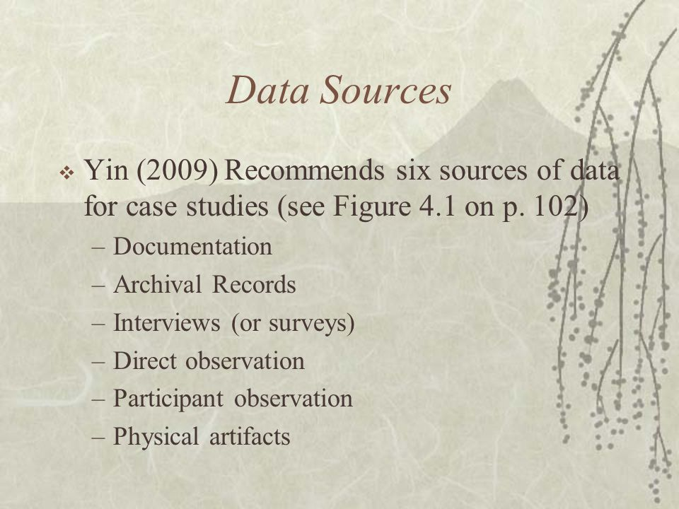 Data Sources Yin (2009) Recommends six sources of data for case studies (see Figure 4.1 on p. 102) Documentation.