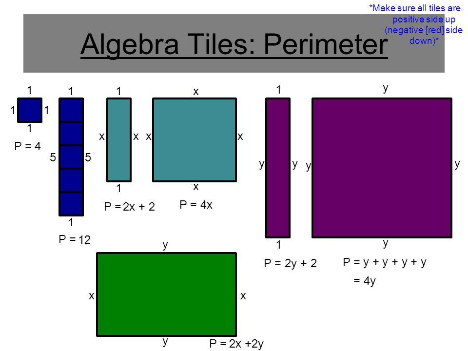 25 Algebra Tiles Perimeter