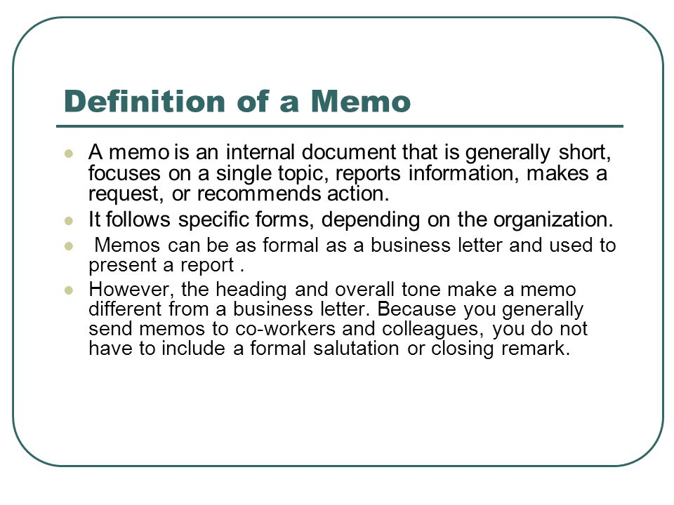 definition of a memo