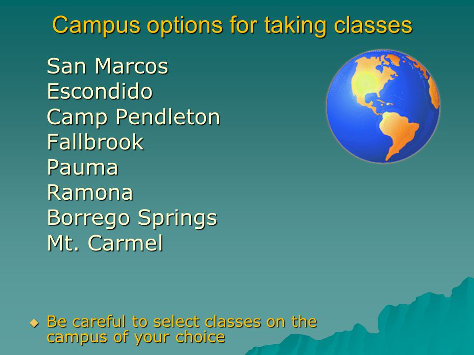 Campus options for taking classes