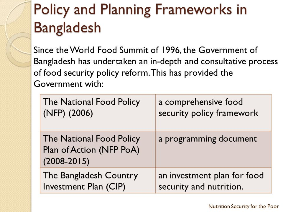 Nutrition Security for the Poor - ppt video online download