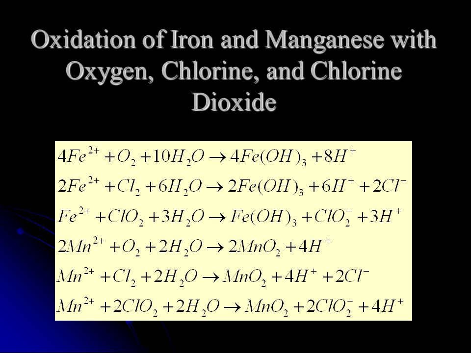 Oxidation of Iron and Manganese with Oxygen, Chlorine, and Chlorine Dioxide