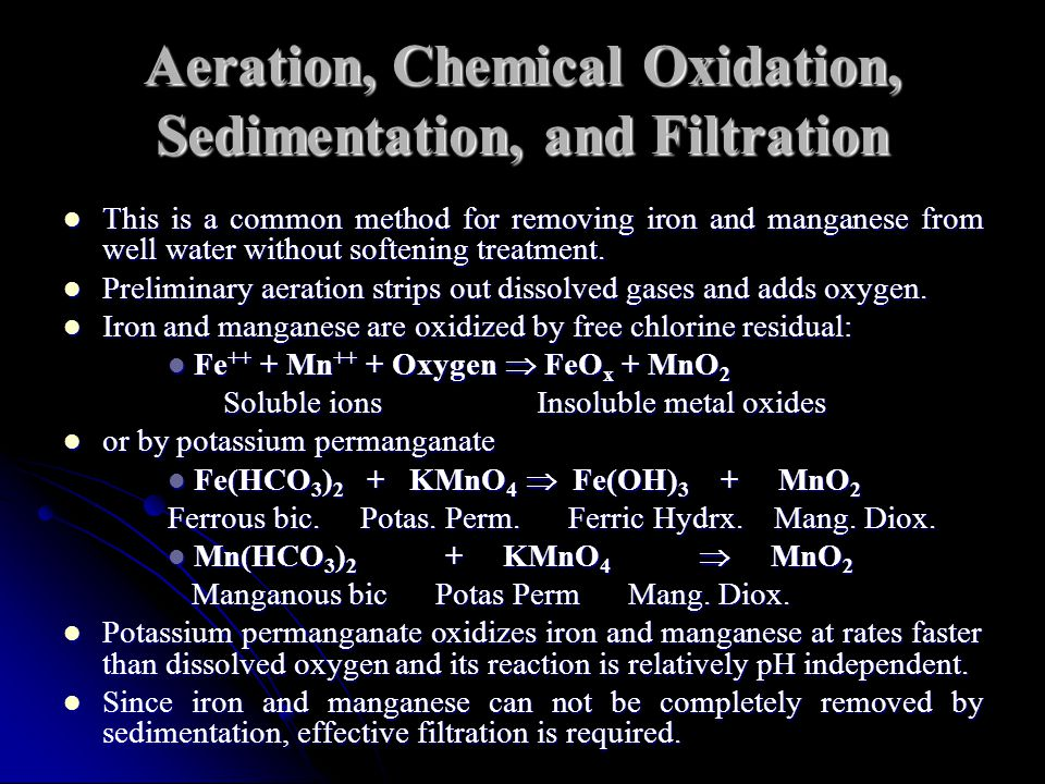 Aeration, Chemical Oxidation, Sedimentation, and Filtration