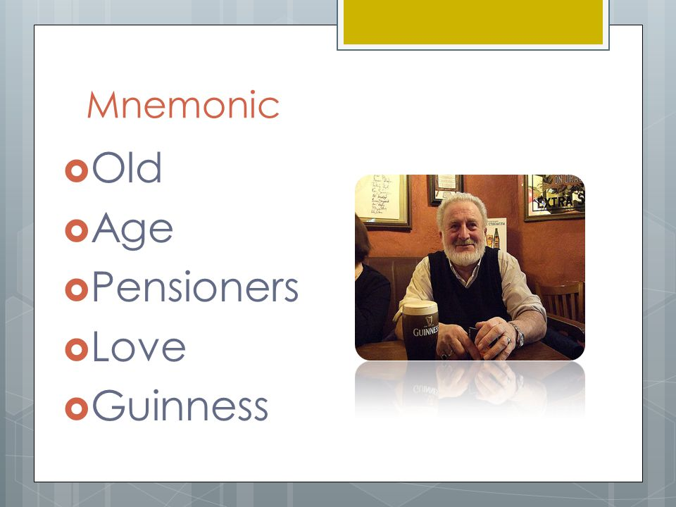 Mnemonic Old Age Pensioners Love Guinness