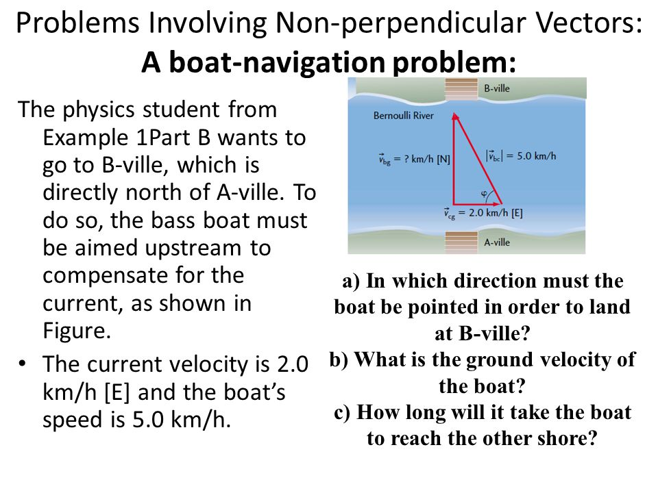 Problems Involving Non-perpendicular Vectors: A boat-navigation problem: