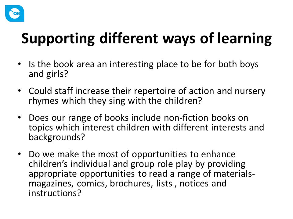 Supporting different ways of learning