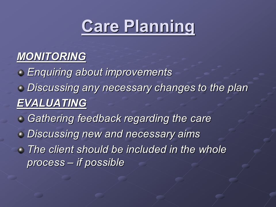 Care Planning MONITORING Enquiring about improvements