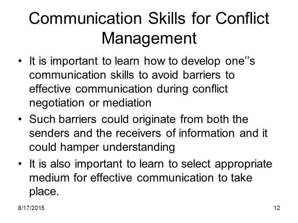 Communication Skills for Conflict Management