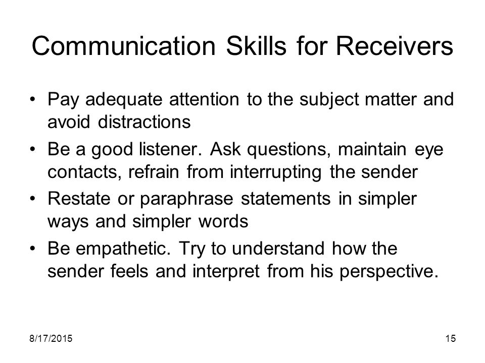 Communication Skills for Receivers
