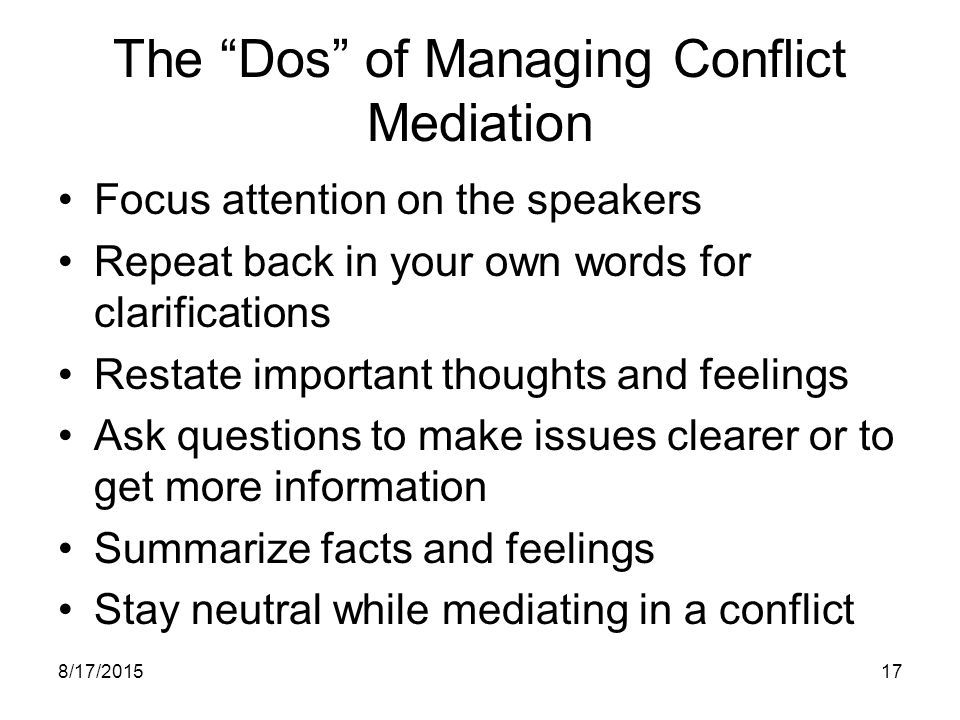 The Dos of Managing Conflict Mediation