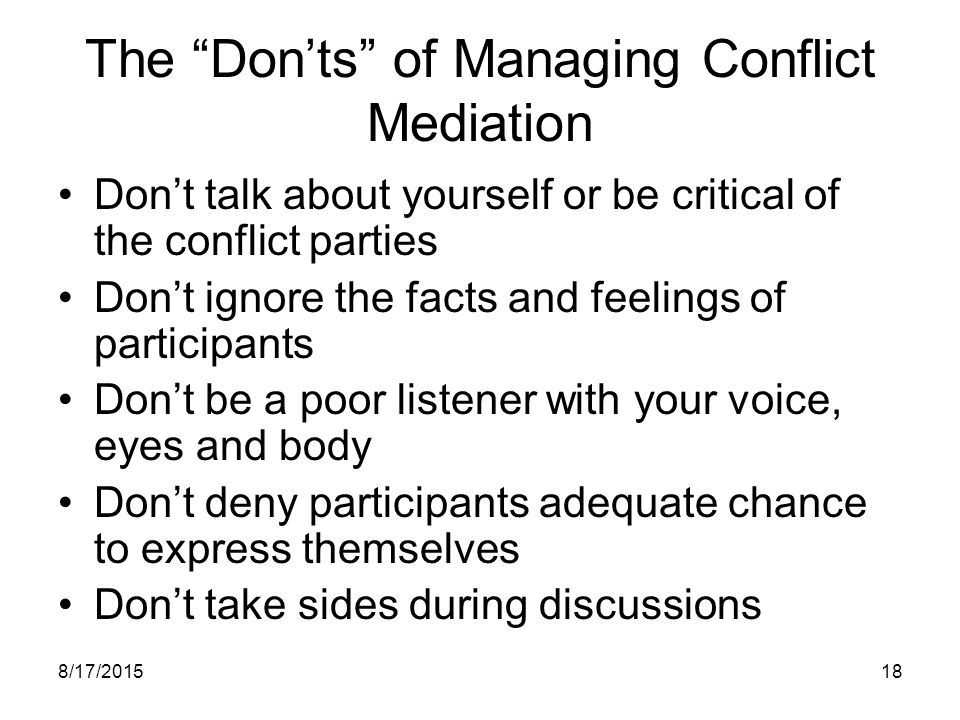The Don'ts of Managing Conflict Mediation
