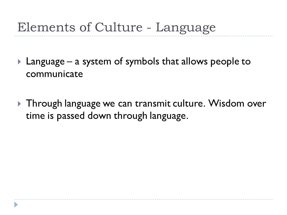Elements Of Culture Language