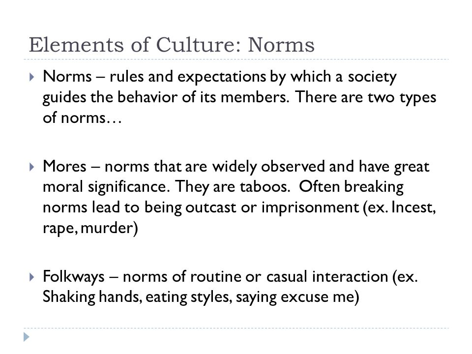 Elements of Culture: Norms