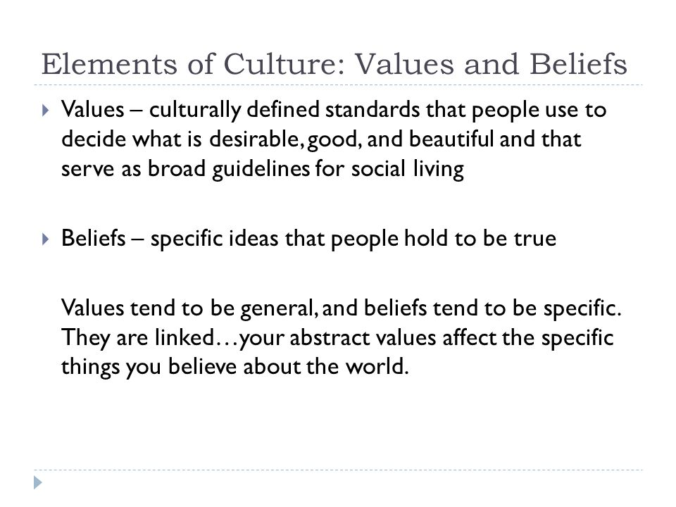 Elements of Culture: Values and Beliefs