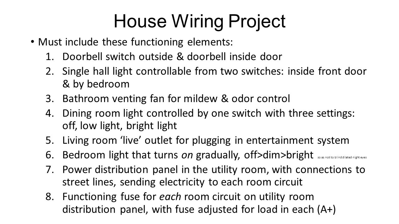 Electricity Circuits Ppt Video Online Download Wiring A Dining Room Light House Project Must Include These Functioning Elements