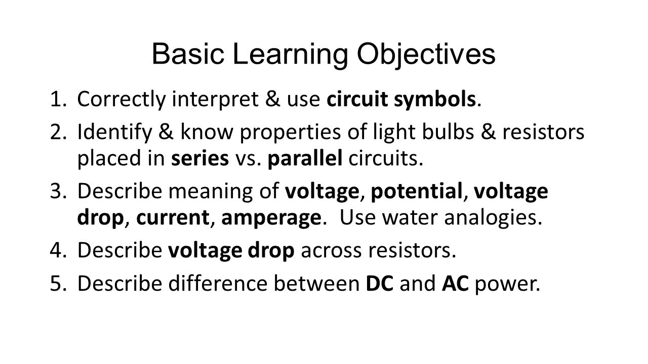 Electricity Circuits Ppt Video Online Download Voltage Drop In A Parallel Circuit 5 Basic Learning Objectives