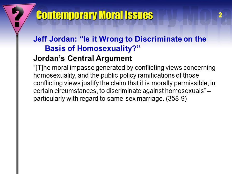 What morally wrong with homosexuality text