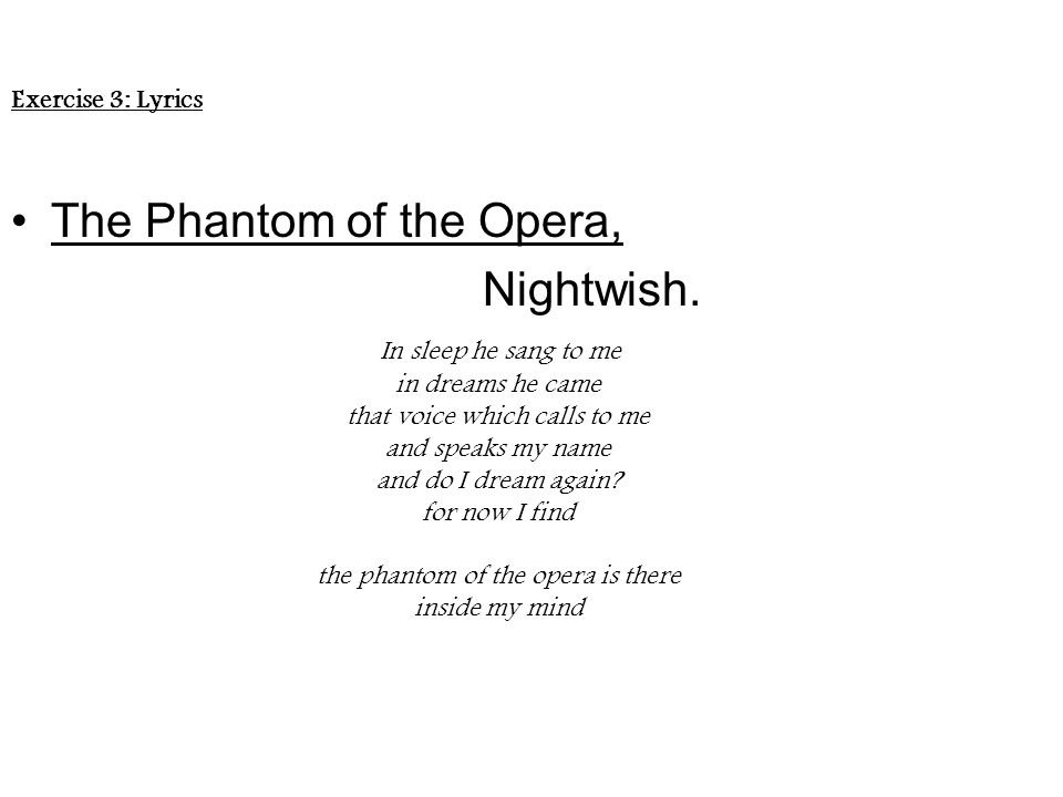 Lyric lyrics opera : The Phantom of the Opera' - ppt video online download